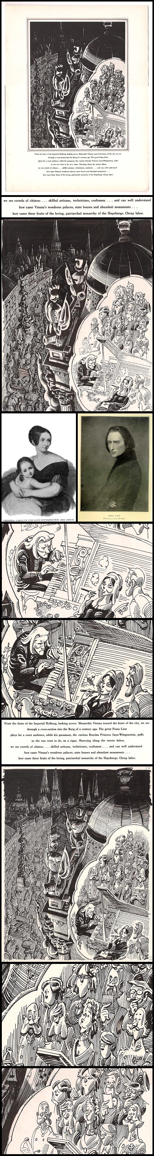 "45. Esquire: ""Vienna, View #1: History"" Original Art & Total Redo (Jun 1960)"